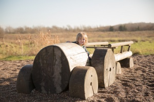 Brockholes Preston - A boy pretends to drive a wooden tractor in an outdoor play park