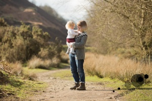 White Coppice, Chorley - Outdoor portrait of mum holding toddler looking at each other