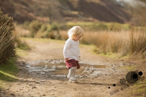 White Coppice, Chorley - A little girl stomps in a muddy puddle