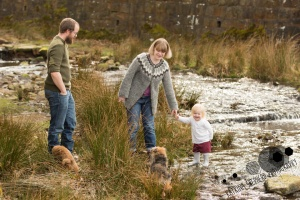 White Coppice, Chorley - A family of mum, dad, toddler, & two dogs paddle in a stream